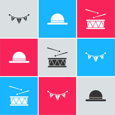 Set Carnival garland with flags, Clown hat and Drum drum sticks icon. Vector Stock Illustratie