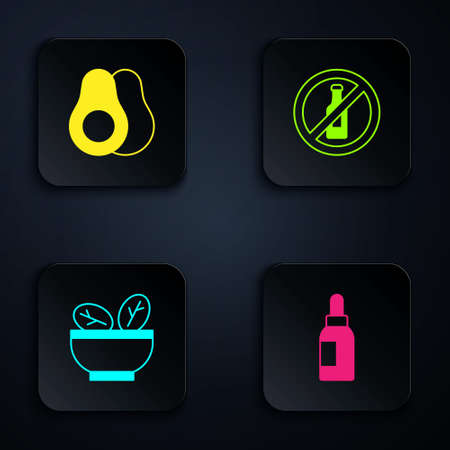 Set Essential oil bottle, Avocado fruit, Salad in bowl and No alcohol. Black square button. Vector