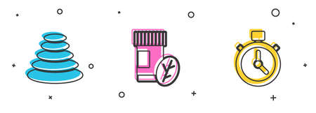 Set Stack hot stones, Vitamin pill and Stopwatch icon. Vector