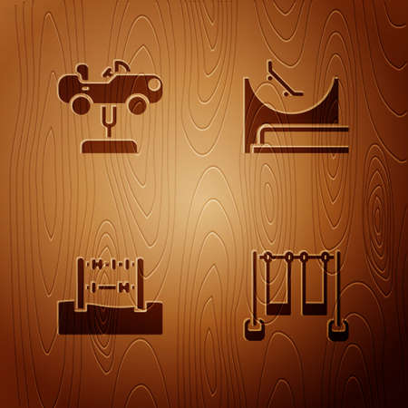 Set Double swing, Swing car, Abacus and Skate park on wooden background. Vector