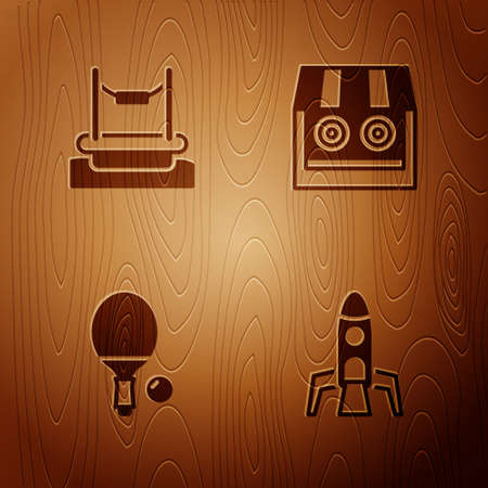 Set Rocket ship, Bungee, Racket and ball and Shooting gallery on wooden background. Vector Stock Illustratie