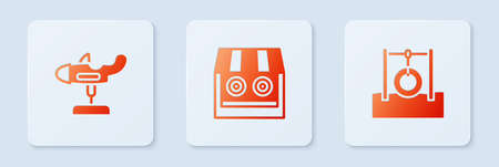 Set Shooting gallery, Swing plane and Car tire hanging on rope. White square button. Vector