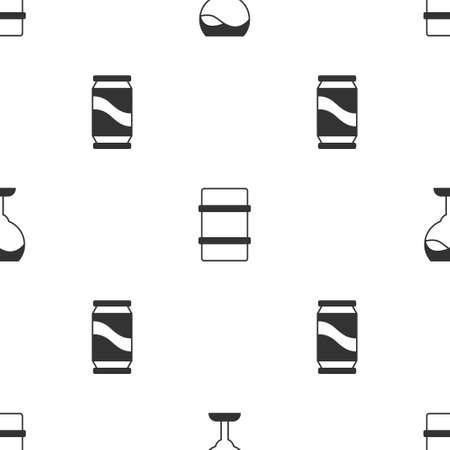 Set Wine glass, Metal beer keg and Beer can on seamless pattern. Vector