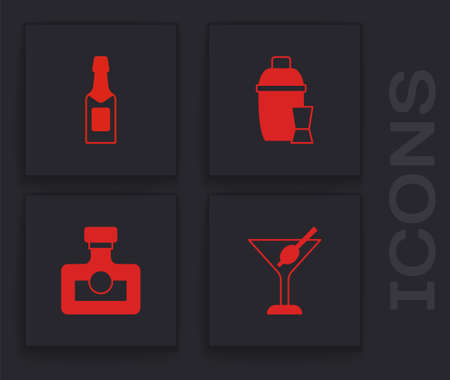 Set Martini glass, Champagne bottle, Cocktail shaker and Alcohol drink Rum icon. Vector Stock Illustratie