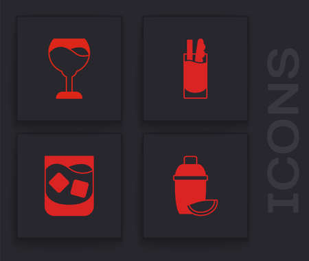 Set Cocktail shaker with lime, Wine glass, Bloody Mary and Glass of whiskey icon. Vector Stock Illustratie