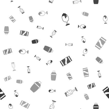 Set Glass of beer, champagne, Beer can and Cocktail shaker on seamless pattern. Vector Stock Illustratie