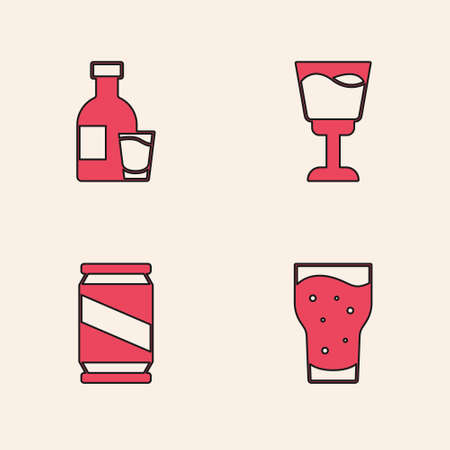 Set Glass of beer, Bottle vodka with glass, Wine and Beer can icon. Vector