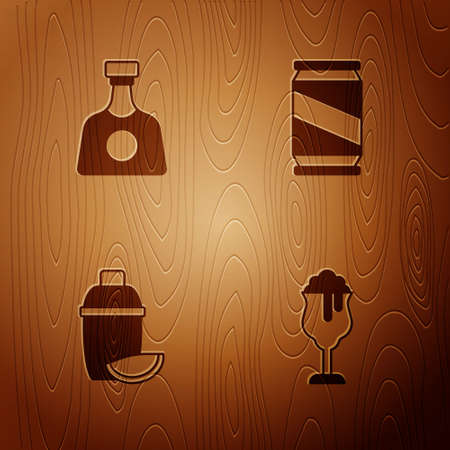 Set Glass of beer, Tequila bottle, Cocktail shaker with lime and Beer can on wooden background. Vector