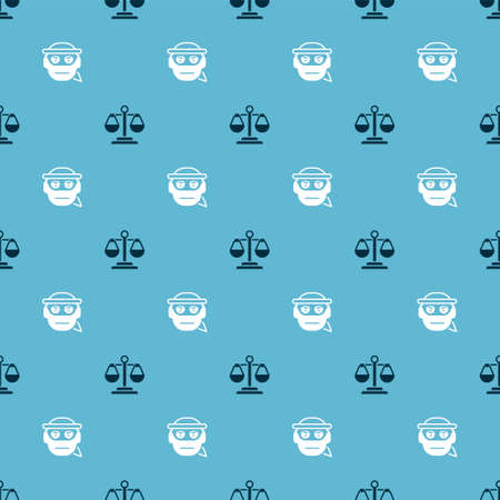 Set Scales of justice and Bandit on seamless pattern. Vector