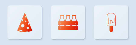 Set Bottled milk in wooden box, Cheese and Ice cream. White square button. Vector