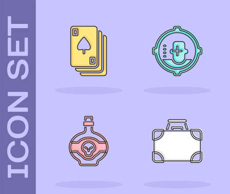 Set Briefcase and money, Playing cards, Poison bottle and Headshot icon. Vector