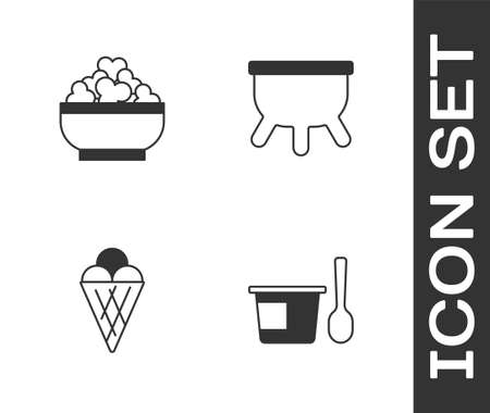Set Yogurt container with spoon, Cottage cheese, Ice cream waffle cone and Udder icon. Vector