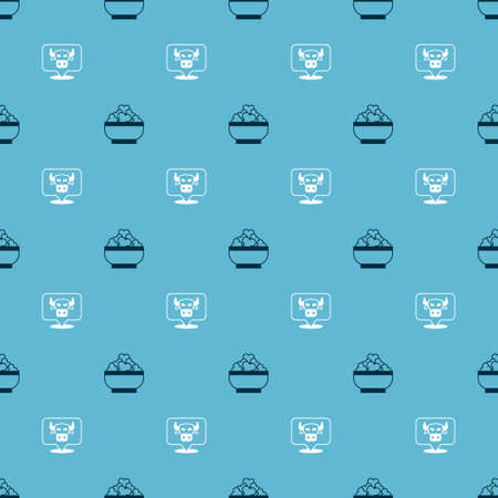 Set Cottage cheese and Cow head on seamless pattern. Vector