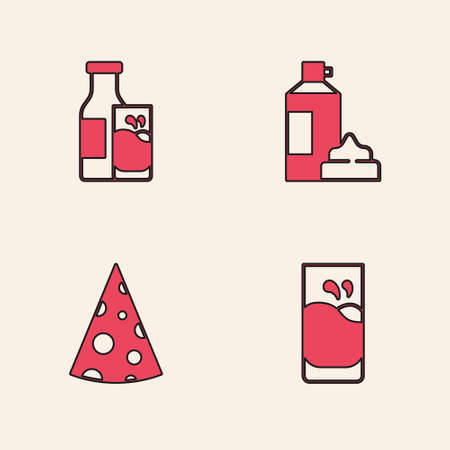Set Glass with milk, Bottle and glass, Whipped cream in bottle and Cheese icon. Vector