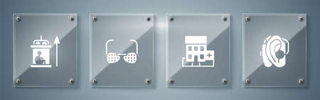 Set Hearing aid, Medical hospital building, Blind glasses and Elevator for disabled. Square glass panels. Vector