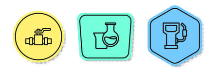Set line Metallic pipes and valve, Oil petrol test tube and Petrol or gas station. Colored shapes. Vector