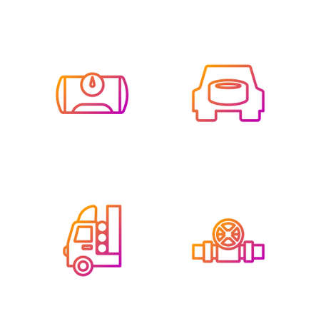 Set line Metallic pipes and valve, Gas tank for vehicle, and Spare wheel in the car. Gradient color icons. Vector