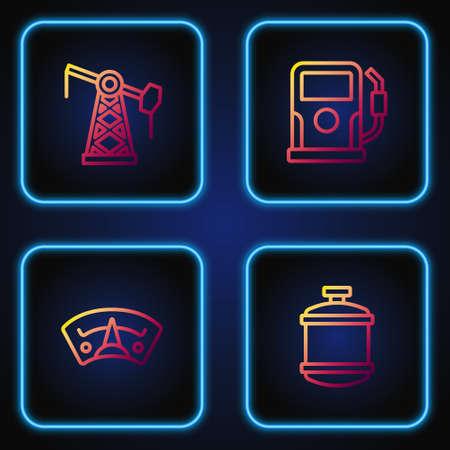 Set line Propane gas tank, Motor gauge, Oil pump pump jack and Petrol station. Gradient color icons. Vector