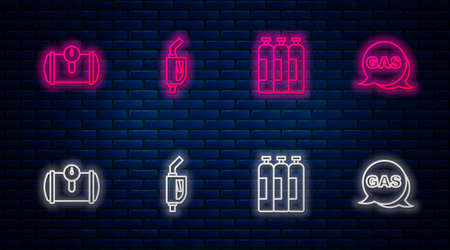 Set line Gasoline pump nozzle, Industrial gas cylinder tank, fuel for vehicle and Location and station. Glowing neon icon on brick wall. Vector