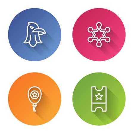 Set line Eagle, Hexagram sheriff, Balloons and Baseball ticket. Color circle button. Vector 矢量图像