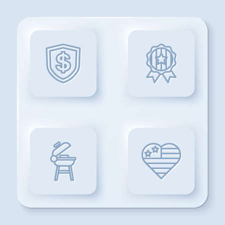 Set line Shield with dollar, Medal star, Barbecue grill and USA Independence day. White square button. Vector