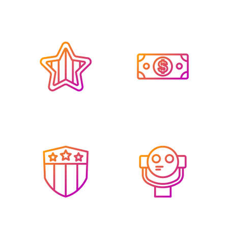 Set line Tourist binoculars, Shield with stars, USA Independence day and Stacks paper money cash. Gradient color icons. Vector