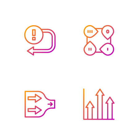 Set line Graph chart infographic, Arrow, and Infographic element. Gradient color icons. Vector