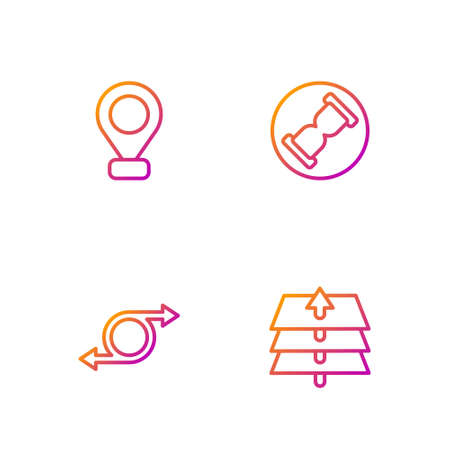Set line Layers, Arrow, Location and Old hourglass with sand. Gradient color icons. Vector