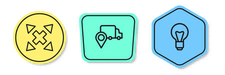 Set line Many ways directional arrow, Delivery tracking and Light bulb. Colored shapes. Vector 矢量图像