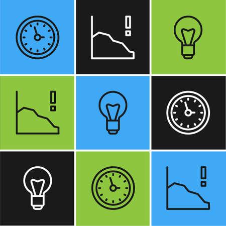 Set line Clock, Light bulb and Financial growth decrease icon. Vector