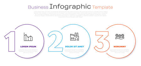 Set line Pie chart infographic, Factory and Location. Business infographic template. Vector