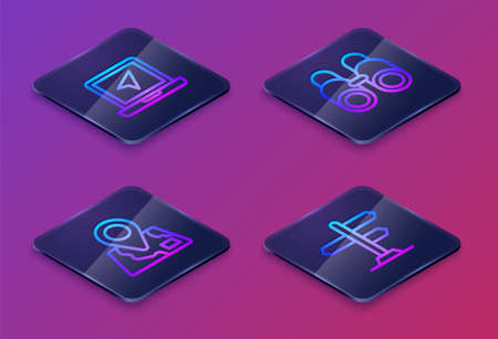 Set Isometric line Laptop with location marker, Folded map, Binoculars and Road traffic sign. Blue square button. Vector
