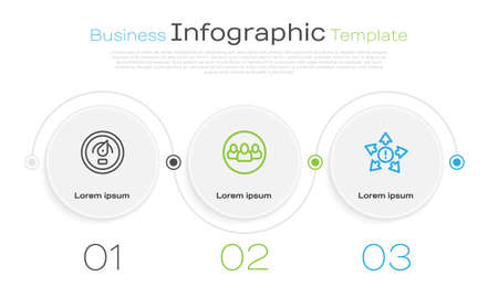 Set line Digital speed meter, Project team base and Many ways directional arrow. Business infographic template. Vector