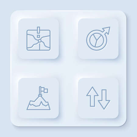 Set line Intersection point, Financial growth, Mountains with flag and Arrow. White square button. Vector