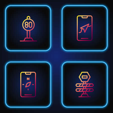 Set line Road barrier, Compass on mobile, Speed limit traffic and City map navigation. Gradient color icons. Vector