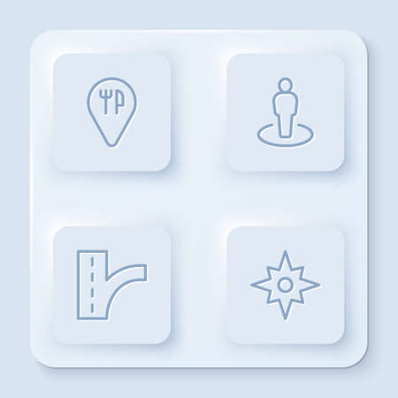 Set line Cafe and restaurant location, Location with person, Road traffic sign and Wind rose. White square button. Vector