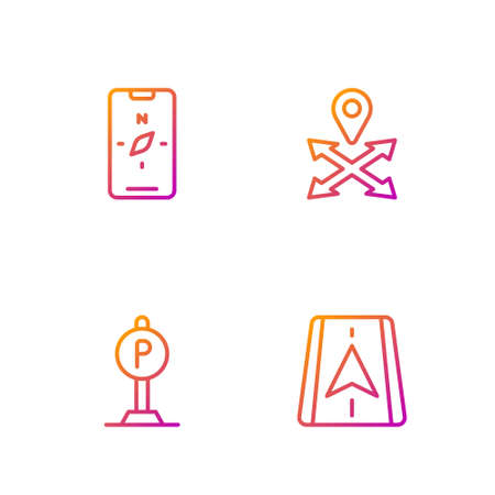 Set line City map navigation, Parking, Compass mobile and Location. Gradient color icons. Vector