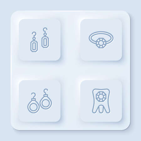 Set line Earrings, Diamond engagement, and Tooth with diamond. White square button. Vector 矢量图像