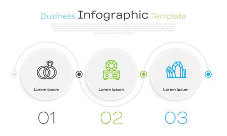 Set line Wedding rings and Gem stone. Business infographic template. Vector 矢量图像
