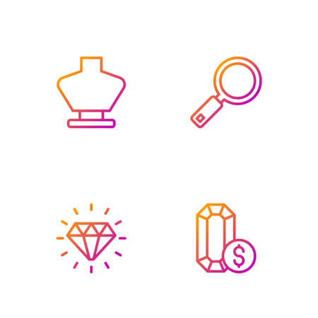 Set line Jewelry online shopping, Diamond, Necklace mannequin and Magnifying glass. Gradient color icons. Vector 矢量图像