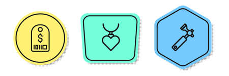 Set line Price tag with dollar, Necklace heart shaped pendant and Jewelers loupe. Colored shapes. Vector 矢量图像