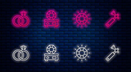 Set line Gem stone, Diamond, Wedding rings and Jewelers loupe. Glowing neon icon on brick wall. Vector