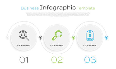 Set line Diamond engagement ring, Magnifying glass and Price tag with dollar. Business infographic template. Vector 矢量图像