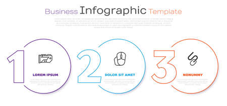 Set line Video graphic card and Computer mouse. Business infographic template. Vector