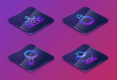 Set Isometric line King crown, Magnifying glass, Diamond engagement ring and Necklace mannequin. Blue square button. Vector