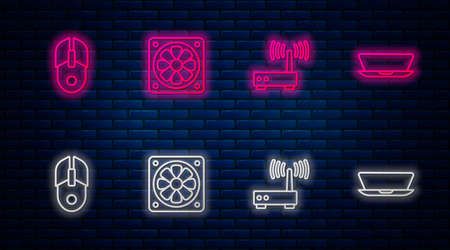 Set line Computer cooler, Router and wifi signal, mouse and Laptop. Glowing neon icon on brick wall. Vector