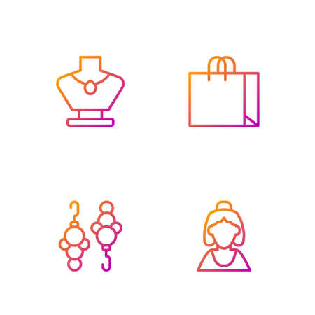 Set line Consultant of jewelry store, Earrings, Necklace mannequin and Shopping bag. Gradient color icons. Vector 矢量图像