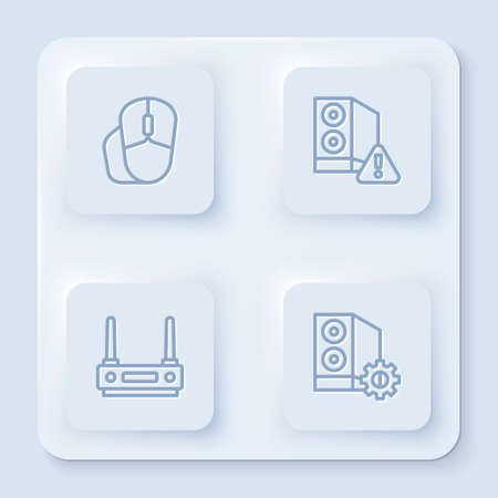 Set line Computer mouse, Case of computer, Router and wifi signal. White square button. Vector