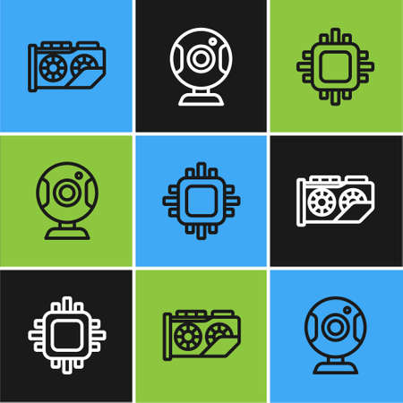 Set line Video graphic card, Processor with CPU and Web camera icon. Vector 矢量图像