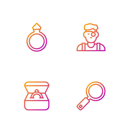 Set line Magnifying glass, Diamond engagement ring box, and Jeweler man. Gradient color icons. Vector 矢量图像
